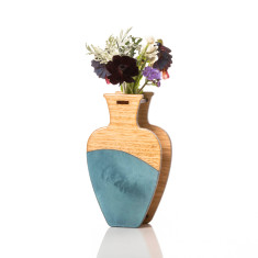 Large handmade vase in teal watercolour