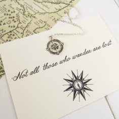 Not all those who wander compass necklace