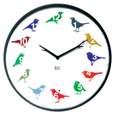 Multi-coloured ultra-flat clock with real bird songs