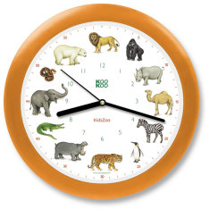 Kid's zoo animals wall clock with 12 animal sounds