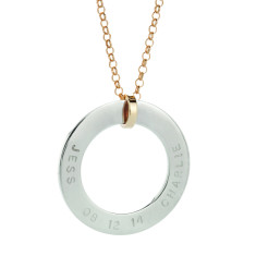 Winifred sterling silver & 9ct gold personalised pendant