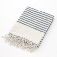 Grey stripe organic cotton beach towel