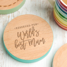 World's Best Mum Coloured Edge Coaster