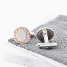 Personalised Silver And Rose Gold Coordinate Cufflinks