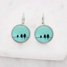 Birds on a wire drop earrings in silver