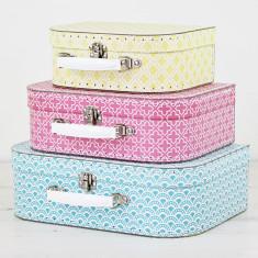 Personalised Geometric Suitcase Storage Box Trio