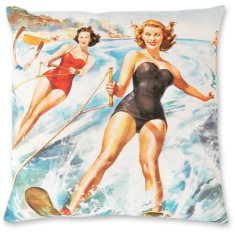 Italian Water Ski linen cushion cover
