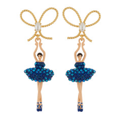 Ballerina and Bow Earrings - Aurora Blue