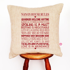 Nana's house rules personalised linen cushion cover