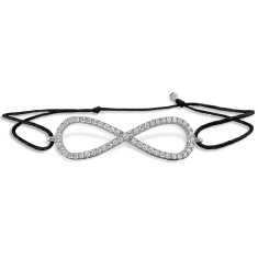 Large infinity string bracelet with genuine cubic zirconia
