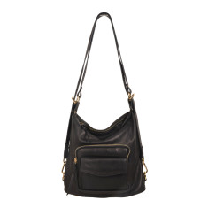 Regina backpack and shoulder bag in black leather