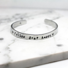 Personalised Sterling Silver Cuff Bangle - Handmade