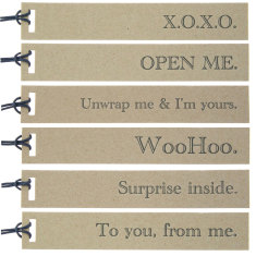 Mixed kraft letterpress tags (pack of 6)