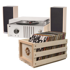 Crosley Player II Turntable + Record Storage Crate Bundle