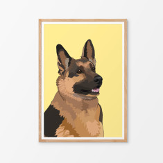 German Shepherd illustrated print