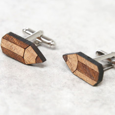 Pencil solid timber cufflinks