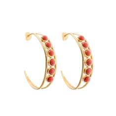 Chloe hoop earrings in coral