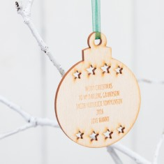 Personalised Round Birchwood Christmas Baubles