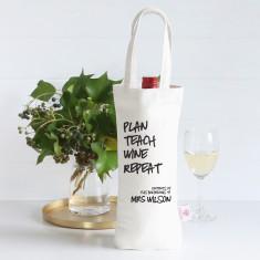 Plan Teach Wine Repeat personalised wine bag