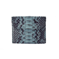 Agra grey motif python and napa leather flap card case