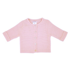 Wave knit cotton baby cardigan in gelato pink