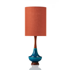 Large Electra table lamp in Terracotta Linen