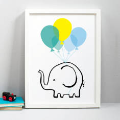 Personalised flying elephant print