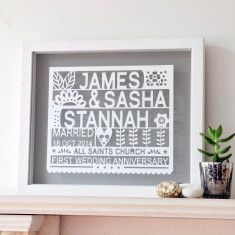 Personalised 1st Paper Wedding Anniversary Papercut Art