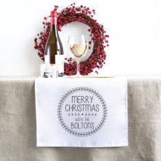 Black Wreath Personalised Christmas table runner (3 sizes)
