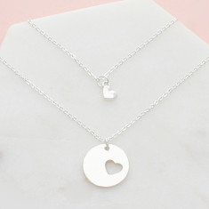 Piece of my heart mother and daughter necklace set in silver