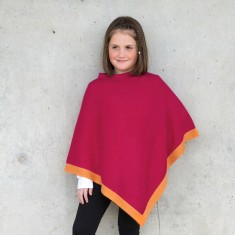Little chicks poncho in hot pink with orange trim