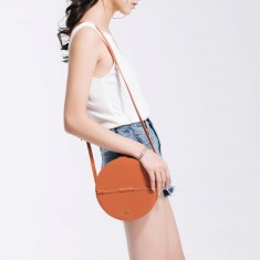 Leather Circle Box Shoulder Bag