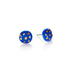 Gold polka dot porcelain stud in blue