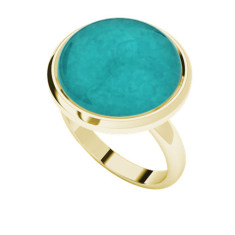 Amazonite yellow gold-plated cabochon ring