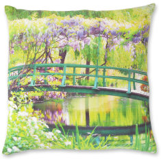 Monet's Bridge linen cushion cover