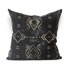 Calpulli Urban Aztec Cushion Cover in Black, Earth & Chartreuse Back