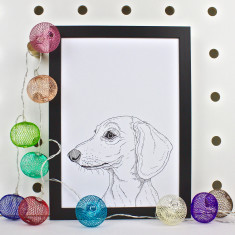 Smooth Dachshund Dog Line Portrait Print