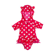 Love Heart Baby Hooded One Piece