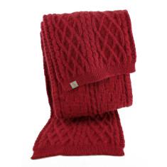 Brioche angora wool cable scarf