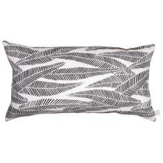 Eucalyptus long cushion cover in black on white