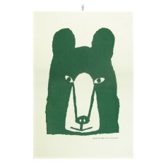 Bear tea towel in green
