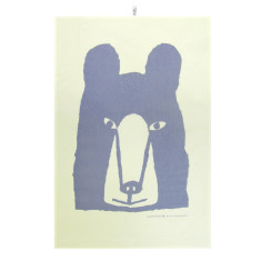 Bear tea towel in purple