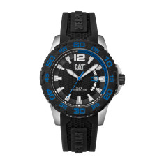 CAT DRIVE series Watch in Stainless Steel with Black Rubber Band & Black / Blue Face
