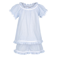Girl's Ruffle Pj Set in Powder Blue