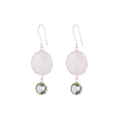 Felicity double drop earrings in rose gold plate