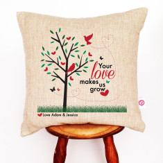 Your love makes us grow personalised linen cushion cover