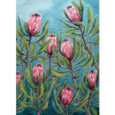 Pink Proteas Art Print