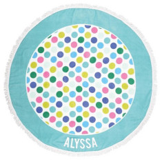 Personalised Round Beach Towel - Spotty