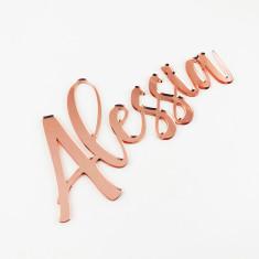 Rose Gold Personalised Handwritten Script Acrylic Names