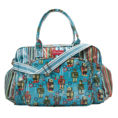 Laminated cotton nappy bag in Robot Downey Stripe print